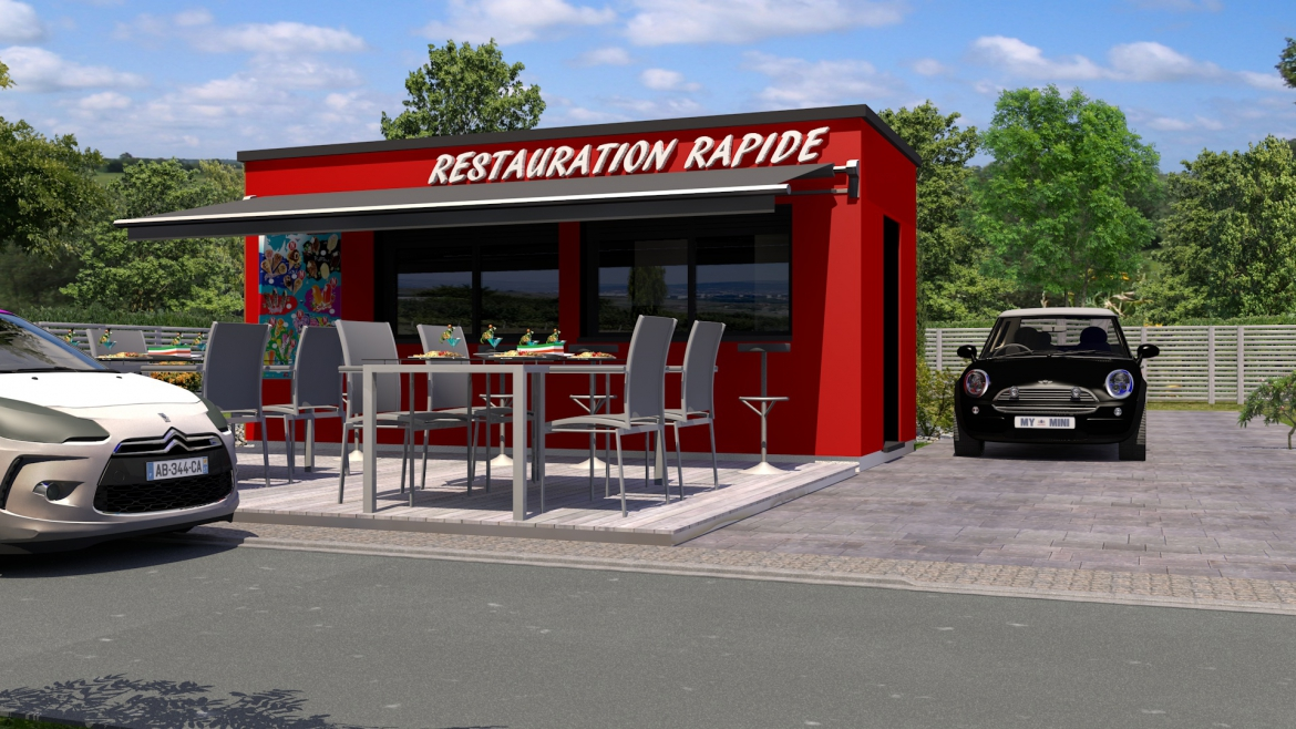 Cuisine rapide bardage rouge store